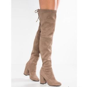 Osaka Steve Madden thigh high boots in Taupe